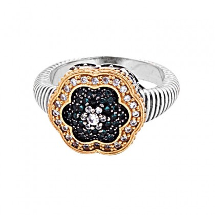 D315 ~ Sterling Silver and Zircon Flower Cocktail Ring