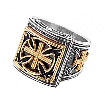 D317 ~ Sterling Silver & Enamel Medieval Byzantine Cross Ring