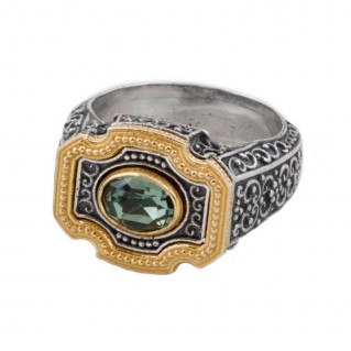 D302 ~ Silver and Swarovski - Medieval Byzantine Single Stone Ring