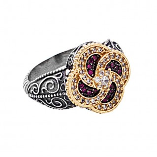 D312 ~ Sterling Silver Medieval-Byzantine Cocktail Ring with Zircon