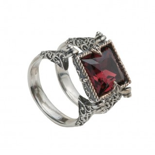 D158 ~ Sterling Silver and Swarovski Swivel Ring