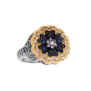 D319 ~ Sterling Silver and Zircon Flower Cocktail Ring