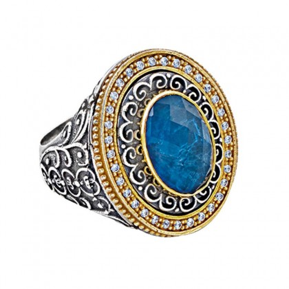 D304 ~ Sterling Silver & Apatite - Medieval Byzantine Cocktail Ring