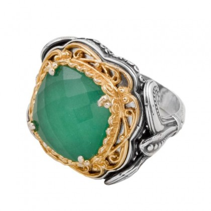 D289 ~ Gemstone Sterling Silver Medieval-Byzantine Large Ring