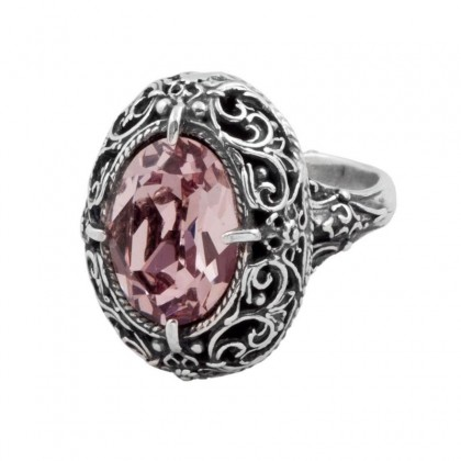 D183 ~ Sterling Silver and Swarovski - Medieval Byzantine Ring