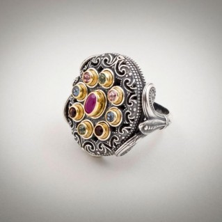 D284 ~ Sterling Silver, Ruby & Swarovski - Medieval Byzantine Ring