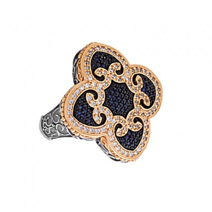 D329 ~ Sterling Silver and Zircon Quatrefoil and Hearts Cocktail Ring