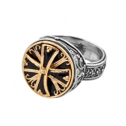 D212 ~ Sterling Silver & Enamel Medieval Byzantine Cross Ring
