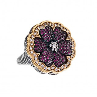D316 ~ Sterling Silver and Zircon Flower Cocktail Ring