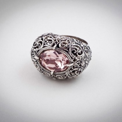D181 ~ Sterling Silver and Swarovski - Medieval Byzantine Ring