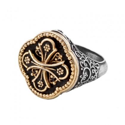 D298 ~ Sterling Silver & Enamel Medieval Byzantine Cross Ring