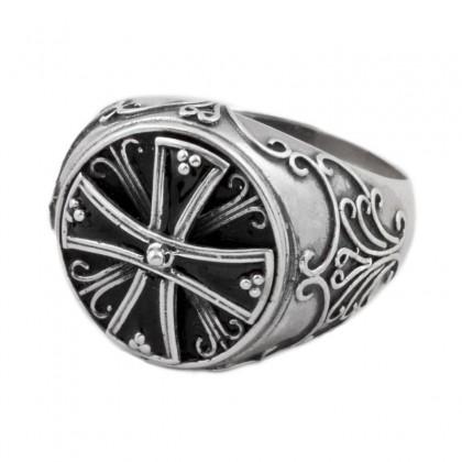 D228 ~ Sterling Silver & Enamel Medieval Byzantine Cross Ring