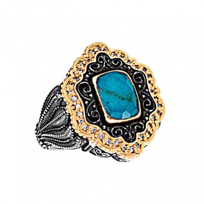 D313 ~ Sterling Silver Medieval Doublet Cocktail Ring with Quartz over Chrysocolla