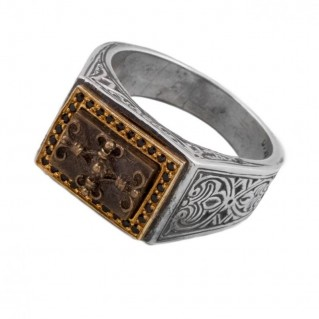 D279 ~ Sterling Silver & Bronze Medieval Byzantine Ring