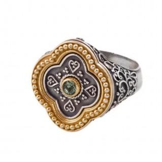 D287-2 ~ Silver and Swarovski - Medieval Byzantine Ring