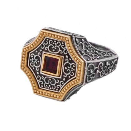 D300 ~ Sterling Silver and Swarovski - Medieval Byzantine Ring
