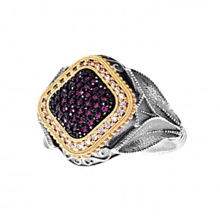 D324 ~ Sterling Silver Medieval-Byzantine Cocktail Ring with Zircon
