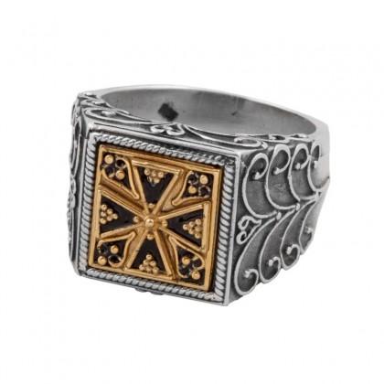 D299 ~ Sterling Silver & Enamel Medieval Byzantine Cross Ring