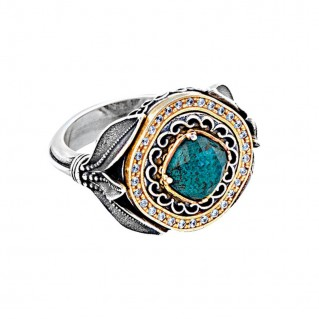 D306 ~ Sterling Silver Medieval Doublet Cocktail Ring with Quartz over Chrysocolla