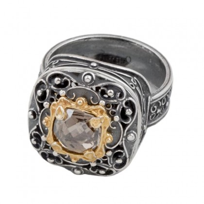 D252 ~ Sterling Silver and Swarovski - Medieval Byzantine Ring