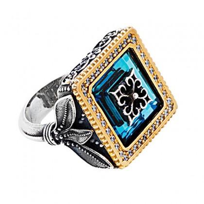 D305 ~ Sterling Silver & Swarovski - Medieval Byzantine Cocktail Ring