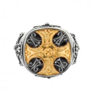 D233-3 ~ Sterling Silver Medieval Chevalier Maltese Cross Ring
