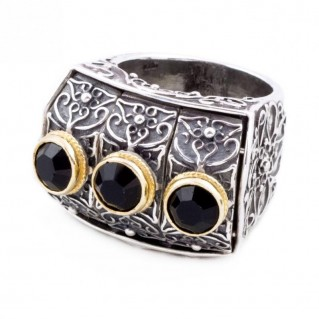 D256 ~ Sterling Silver and Swarovski - Medieval Byzantine Cocktail Ring