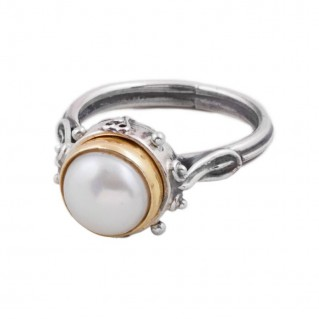 D265-5 ~ Sterling Silver & Pearl Single Stone Ring