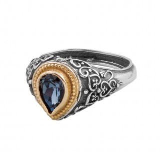 D288 ~ Sterling Silver and Swarovski - Medieval Byzantine Ring