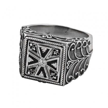 D299-1 ~ Sterling Silver & Enamel Medieval Byzantine Cross Ring