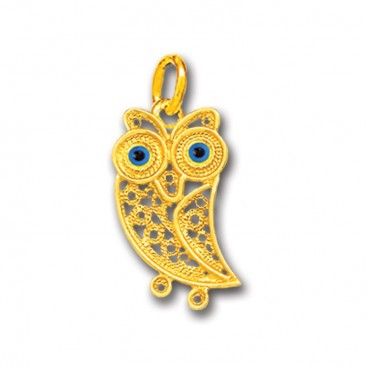 Wise Little Owl with Blue Eyes ~ 14K Solid Gold Filigree Pendant - A/S