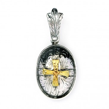 Byzantine-Medieval Cross Pendant ~ Sterling Silver & Gold Plated Silver