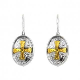 Byzantine-Medieval Cross Earrings ~ Sterling Silver & Gold Plated Silver