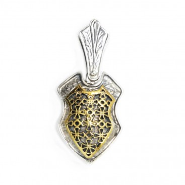 Byzantine-Medieval Shield & Crosses Pendant ~ Sterling Silver & Gold Plated Silver