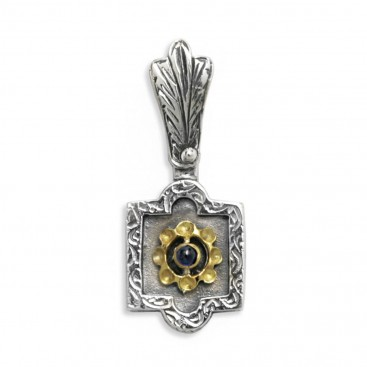 Byzantine-Medieval Pendant ~ Sterling Silver, Gold Plated Silver & Zircon