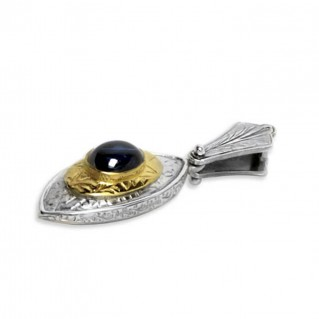 Byzantine-Medieval Eye Shape Pendant ~ Sterling Silver, Gold Plated Silver & Zircon
