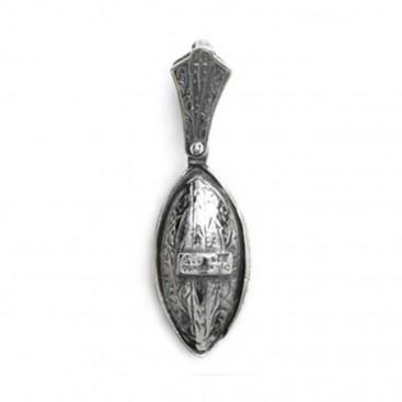 Byzantine-Medieval Eye Shape Pendant ~ Sterling Silver, Gold Plated Silver & Zircon