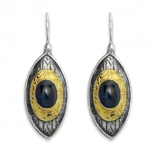 Byzantine-Medieval Eye Shape Earrings ~ Sterling Silver, Gold Plated Silver & Zircon