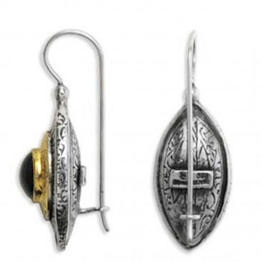 Byzantine-Medieval Eye Shape Earrings ~ Sterling Silver, Gold Plated Silver & Zircon