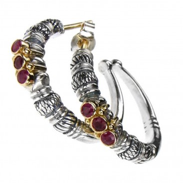 Gerochristo 1012 ~ Solid 18K Gold, Sterling Silver & Rubies Medieval-Byzantine Open Hoop Earrings