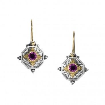 Gerochristo 1015N ~ Solid Gold & Sterling Silver - Medieval Byzantine Drop Earrings