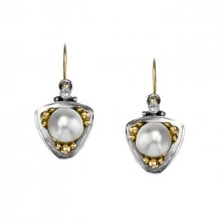 Gerochristo 1023N ~ Solid Gold, Silver & Stones Medieval Drop Earrings