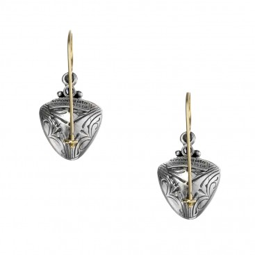 Gerochristo 1023N ~ Solid Gold, Silver & Stones Medieval Drop Earrings