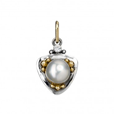 Gerochristo 1023N ~ Solid Gold, Silver & Stones Charm Pendant