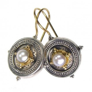 Gerochristo 1026 ~ Solid 18K Gold & Sterling Silver Medieval-Byzantine Earrings