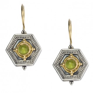 Gerochristo 1027 ~ Solid Gold & Sterling Silver Medieval-Byzantine Earrings