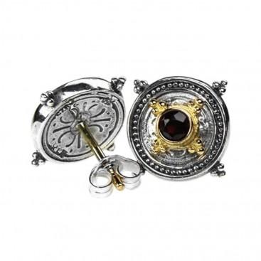 Gerochristo 1043 ~ Solid Gold, Sterling Silver Byzantine Medieval Stud Earrings