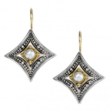 Gerochristo 1054 ~ Solid Gold & Sterling Silver Medieval-Byzantine Earrings