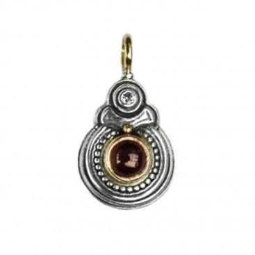 Gerochristo 1055 ~ Solid Gold, Silver & Garnet Medieval-Byzantine Pendant