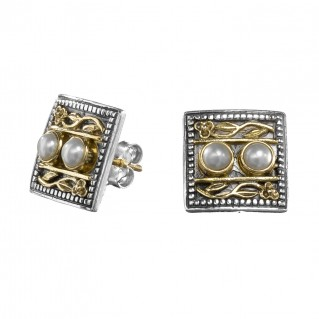 Gerochristo 1094N ~ Solid Gold & Sterling Silver Byzantine Medieval Stud Earrings